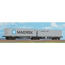 Dobbelt-containervogn litra Sggrss 80' med 2 stk. 40' MAERSK container
