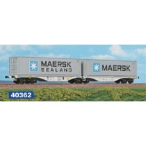 Dobbelt-containervogn litra Sggrss 80' med MAERSK container