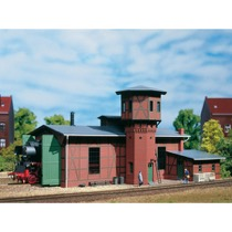 Locomotive shed with water tower