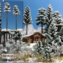 2 Snedækkede Fyrretræer. 195-210 mm