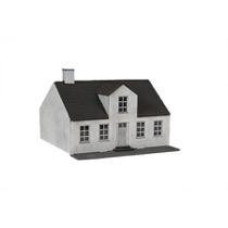 Hvidt byhus med kvist