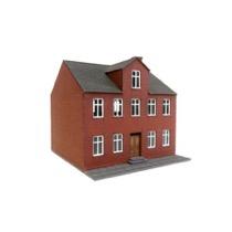 Byhus i 2 etager med kvist og røde mursten
