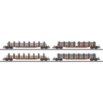 Stahl-Transport: Set mit 4 Rungenwagen Snps - Snps 719 (4) DB