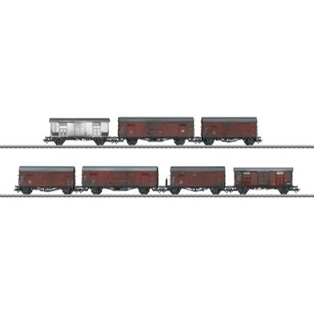 Güterwagen-Set zur Baureihe V 188 - Gms 30, Gl 22, Type F, Gmhs 30, Glt 23