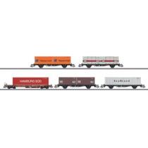 Container-Tragwagenset mit 5 Wagen - Lbgjs 598 und Sks-z 707
