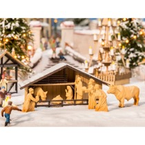 Christmas Market Crib with Figures in