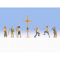 Mountain Hikers with Cross