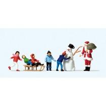 Julemand, børn m. kælk og snemand