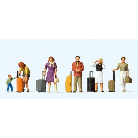Stående rejsende med kufferter