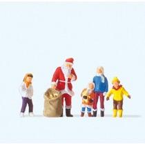 Julemand med børn og gaver