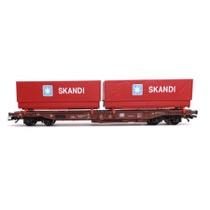 """DB Sdgmns godsvogn Litra 81 80 475 3 810-8 med 2 skiftelad """"SKANDI"""""""