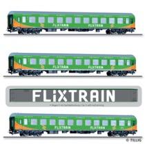 Passenger coach set Flixtrain with three
